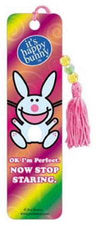 It's Happy Bunny Ok I'm Perfect Now Stop Staring Beaded Bookmark