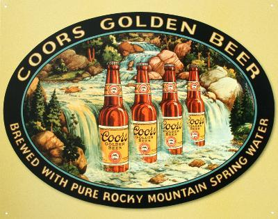 Coors Silver Beer Bottles in Waterfall