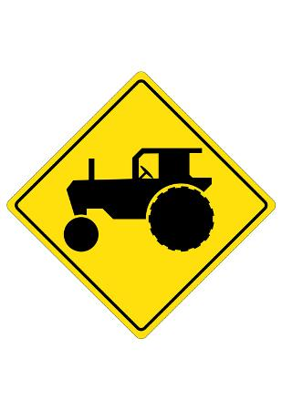 Tractor Crossing Sign Poster