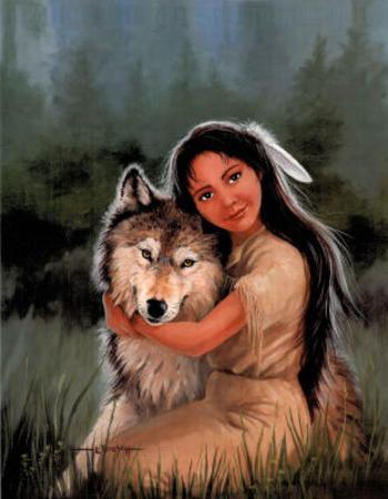 Native American Maid & Wolf