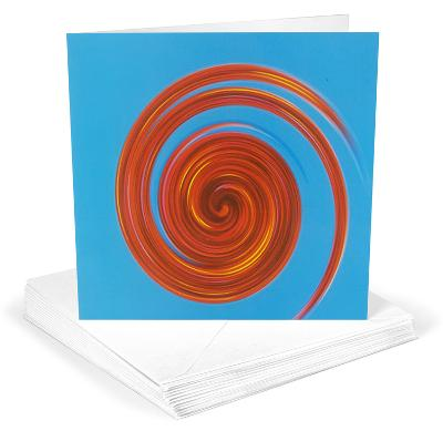 Michael Banks Whirl No 3 Red on Sky Blue Greeting Cards 12 Per Package