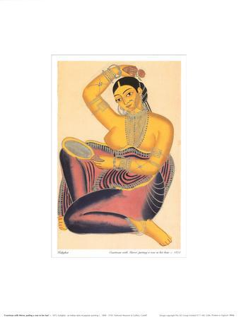 Kalighat Courtesan with Mirror Putting a Rose in Her Hair
