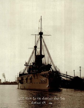 USS Texas (Norfolk Virginia Navy Yard, c.1896)