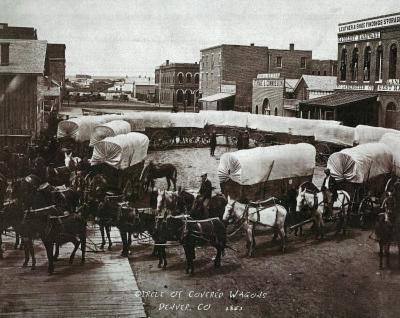 Circle of Covered Wagons Denver Colorado