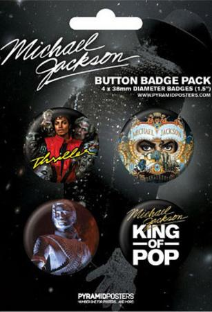 Michael Jackson - King of Pop, Commemorative Music Button Pin 4-Pack