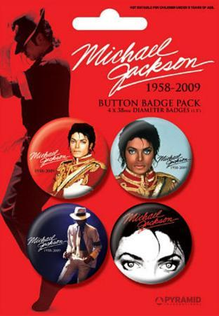 Michael Jackson - Red, Commemorative Music Button Pin 4-Pack