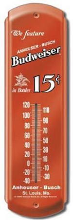 Budweiser Beer 15 Cents Indoor/Outdoor Weather Thermometer