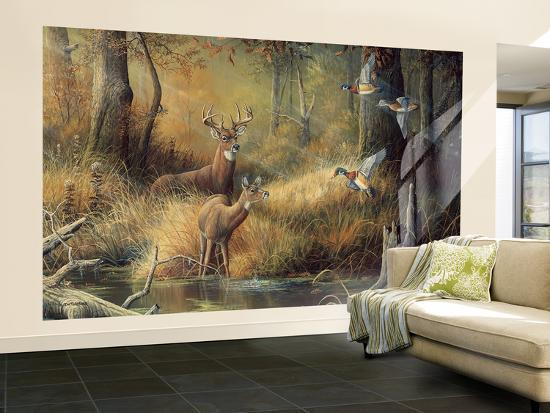 October Memories Deer Ducks Hunting Wallpaper Mural At