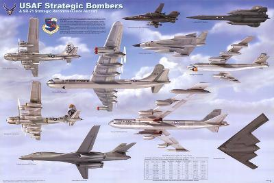 USAF Strategic Airplane Bombers Educational Military Chart Poster