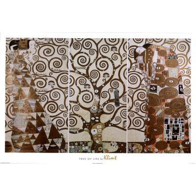 Gustav Klimt Tree of Life White Border Art Print Poster