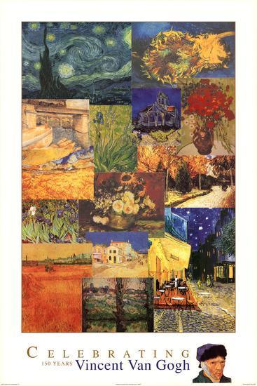 Vincent Van Gogh 150 Years Collage Art Print Poster