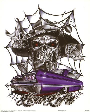 Lowlife (Skeleton, Spiderweb, Car) Art Poster Print