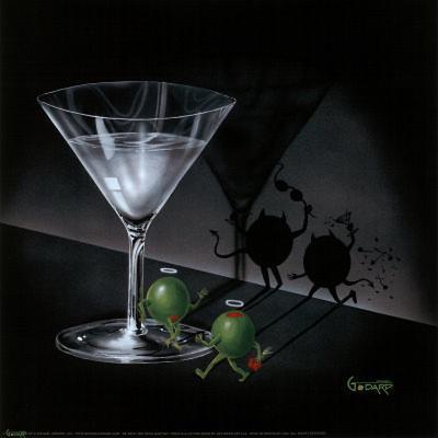 Michael Godard He Devil She Devil Martini Art Print Poster