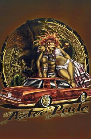 Aztec Pride (Carrying Woman over Car) Art Poster Print