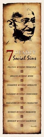 Gandhi Seven Deadly Social Sins, Face Art Poster Print