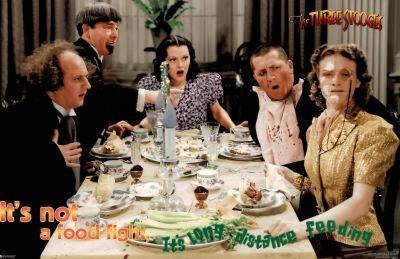 The Three Stooges It's Not a Food Fight It's Long Distance Feeding Movie Poster Print