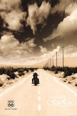 Route 66 Motorcycle Art Print Poster