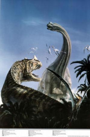 Brachiosaurus and Ceraton Prehistoric Dinosaur Print Poster