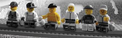 Lego Lunch on Skysraper Door Poster Print
