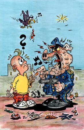 Big Trouble - Pig Cop, Pot, Cartoon Poster