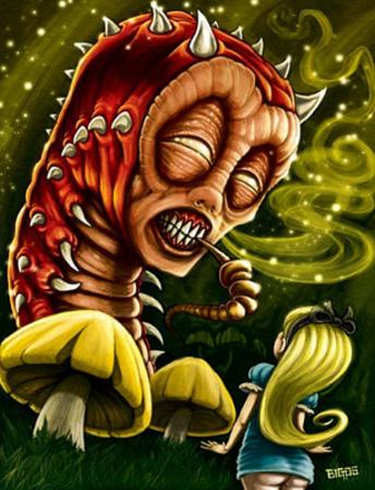Alice in Wonderland (Alice & Caterpillar) Art Poster Print