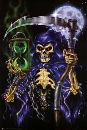 Time Keeper Grim Reaper Art Poster Print