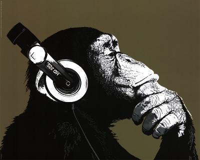 The Chimp Stereo Headphones Art Print Poster