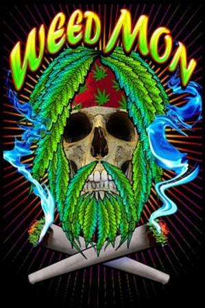 Weed Mon Pot Marijuana Blacklight Poster Print