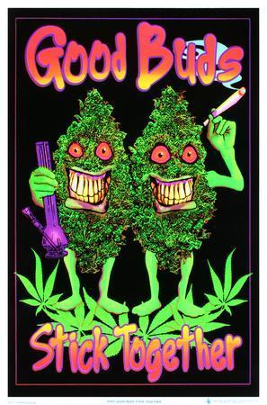 Good Buds Stick Together Pot Marijuana Blacklight Poster Print