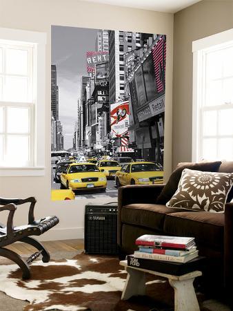 New York City Times Square Cab by John Lawrence Mini Mural Huge Poster Art Print