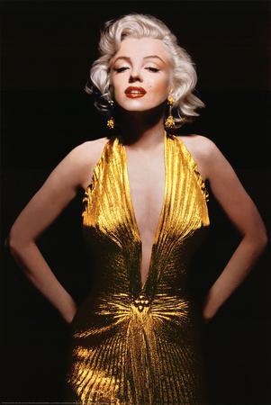 Marilyn Monroe (Gold Dress, Tinted) Movie Poster Print