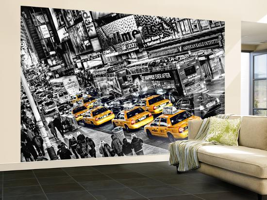 Poster New York Taxi.New York City Taxi Cabs Queue Huge Wall Mural Art Print Poster