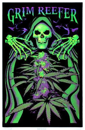 Grim Reefer Marijuana Pot Blacklight Poster Print