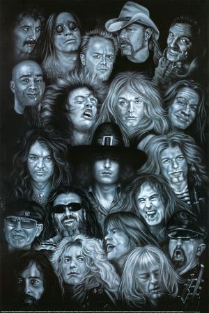 Metal Heroes (Ozzy Scott Ian Metallica Lemmy David Lee Roth Van Halen Led Zeppelin ) Poster