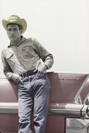 Paul Newman on Cadillac Art Print Poster