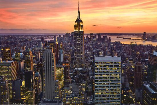 new york city empire state building sunset art poster print