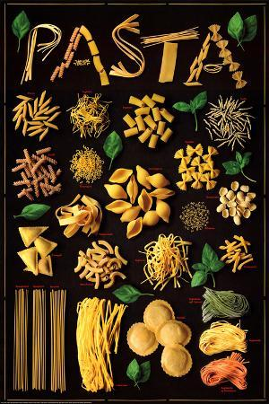Pasta (Types) Art Poster Print