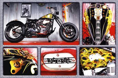 Rock n Roll Bike Motorcycle Art Print Poster