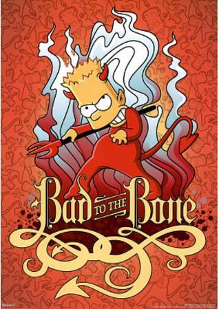 The Simpsons Bart Bad to the Bone TV Poster Print
