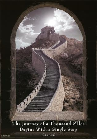 Journey of a Thousand Miles Lao-Tzu Great Wall of China Motivational Poster Print