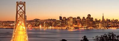 Bay Bridge at Sunset and Twilight Time-San Francisco