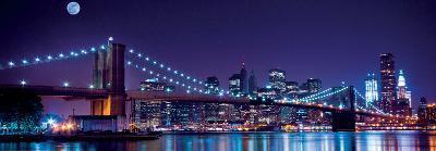 Brooklyn Bridge and Manhattan Skyline with a Full Moon Overhead-New York