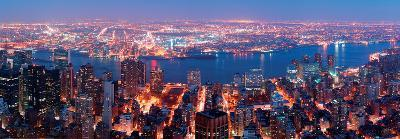 Manhattan Skyline Aerial View Panorama with Brooklyn and Hudson East River-New York