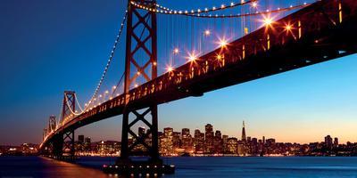 San Francisco Skyline and Bay Bridge at Sunset-California