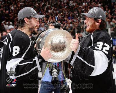 Drew Doughty & Jonathan Quick with the Stanley Cup Trophy after Winning Game Stanley Cup Finals