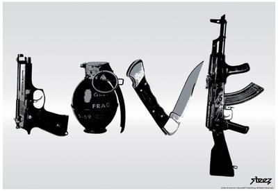 Love (Weapons) Black & White Steez Poster