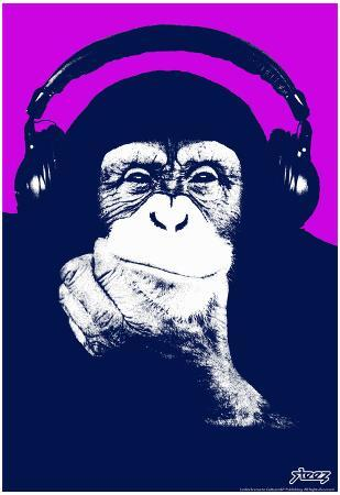 Steez Headphone Chimp - Purple Art Poster Print