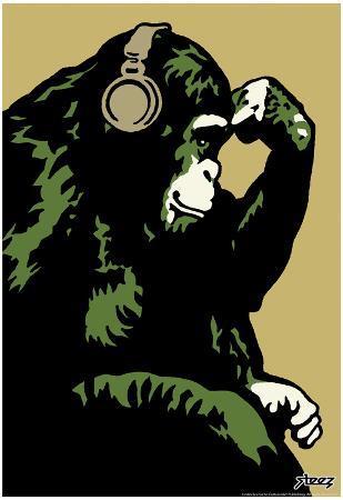 Steez Monkey Thinker - Gold Art Poster Print