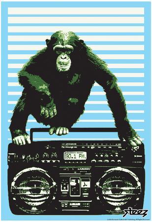 Steez Monkey Boom Box Art Poster Print