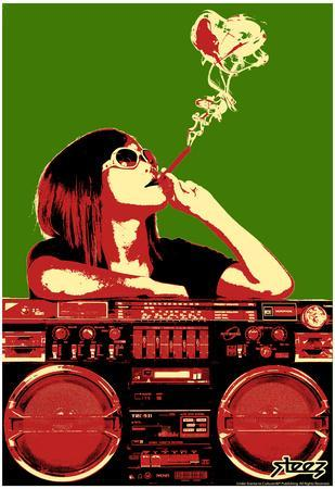 Steez Boom Box Joint - Red/Green Art Poster Print